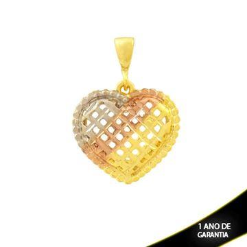 Imagem de Pingente Coração Diamantado com Aplique de Ródio Rosê - 0304708