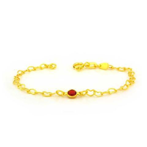 Imagem de Pulseira Infantil de Corações com Pedra Redonda Vermelha 15cm - 0504074