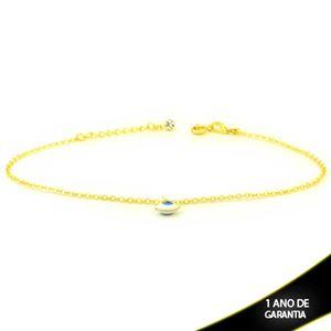 Imagem de Tornozeleira Elos Diamantados com Olho Grego 24cm Mais 3,5cm de Extensor - 0600729