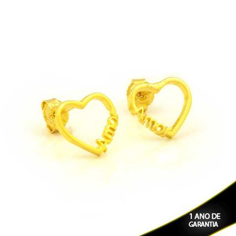 """Imagem de Brinco de Coração Vazado Escrito """"Amor"""" - 0212586"""