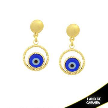 Imagem de Brinco Redondo Diamantado com Olho Grego Azul Escuro - 0210494