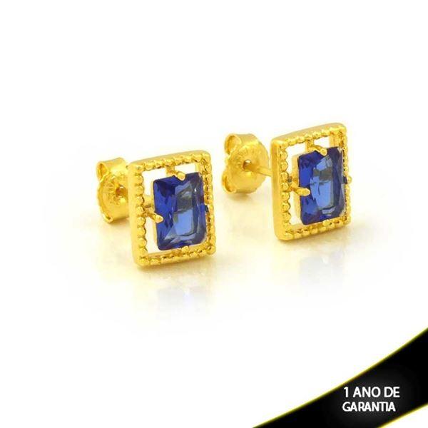 Imagem de Brinco Retângulo de Pedra Azul Escuro - 0212610