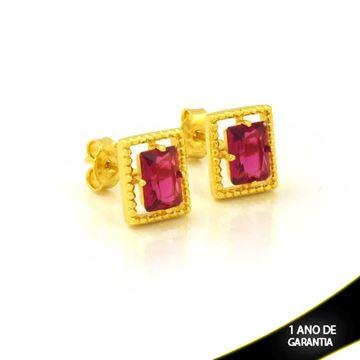 Imagem de Brinco Retângulo de Pedra Pink - 0212610