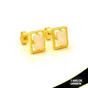 Imagem de Brinco Retângulo de Pedra Rosa - 0212610