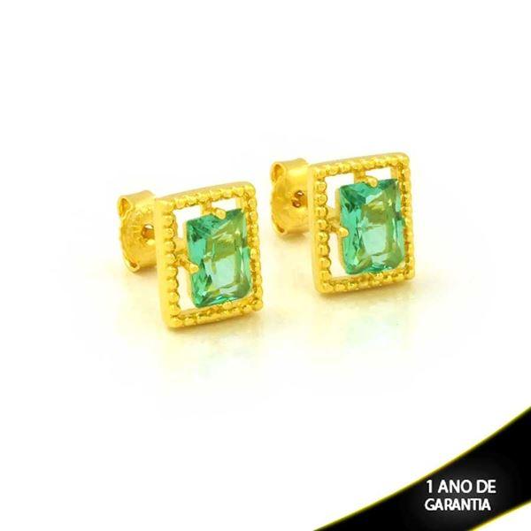 Imagem de Brinco Retângulo de Pedra Verde Claro - 0212610