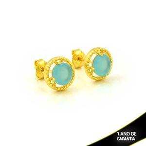 Imagem de Brinco Redondo de Pedra Azul Claro - 0212611
