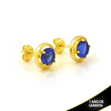 Imagem de Brinco Redondo de Pedra Azul Escuro - 0212611