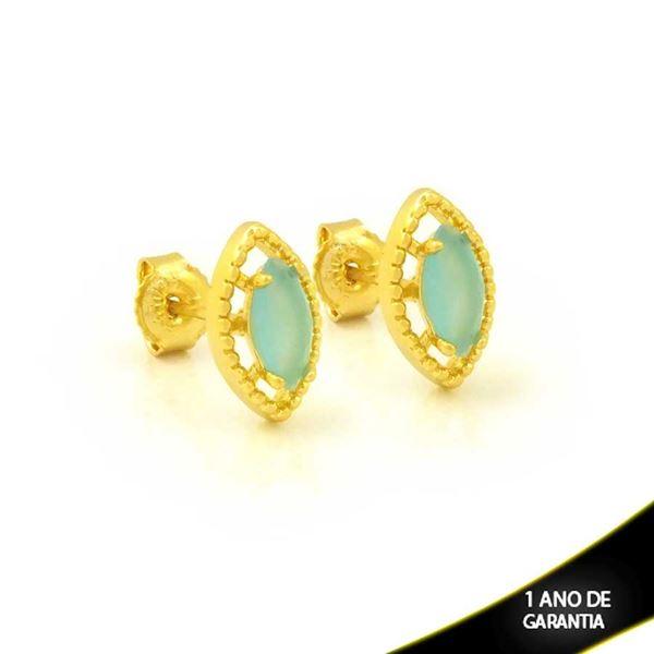 Imagem de Brinco Navete Fino de Pedra Azul Claro - 0212612