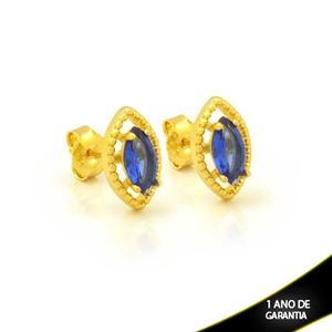 Imagem de Brinco Navete Fino de Pedra Azul Escuro - 0212612