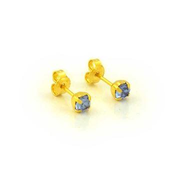 Imagem de Brinco Infantil Pedra de Strass Azul Royal - 0203560
