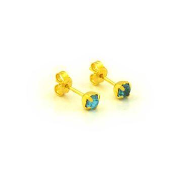 Imagem de Brinco Infantil Pedra de Strass Azul Claro - 0203560
