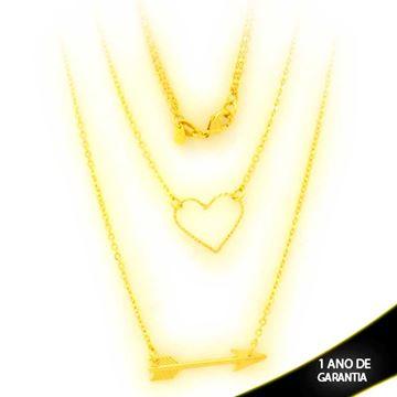Imagem de Corrente Feminina Dupla de Coração Diamantado com Flecha 50cm - 0403896