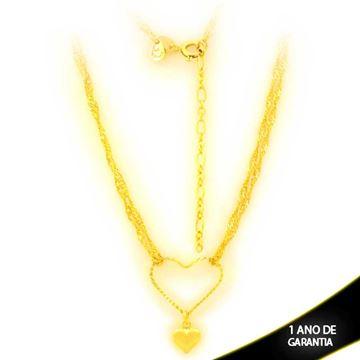 Imagem de Corrente Feminina Dupla de Coração Diamantado e Liso 40cm Mais 5cm de Extensor - 0403927
