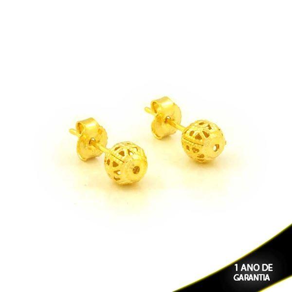 Imagem de Brinco de Bola Trabalhada Vazada 6mm - 0212424