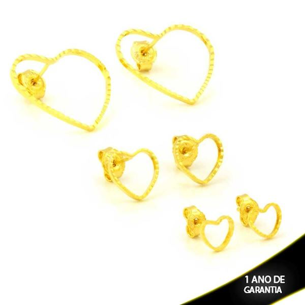 Imagem de Brinco Trio de Corações Vazados Diamantados -  0212619
