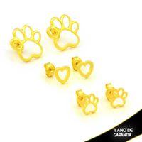 Imagem de Brinco Trio de Patinhas de Cachorro com Coração - 0212620