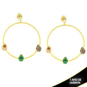 Imagem de Brinco Grande com Gotas de Zircônia Coloridas - 0212616