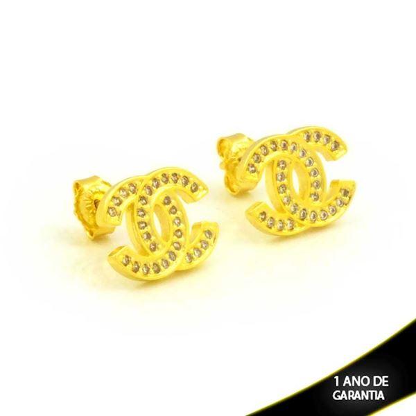 Imagem de Brinco Réplica Chanel com Zircônias Brancas - 0212256