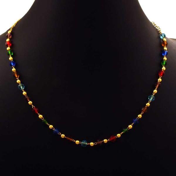 Imagem de Corrente Feminina com Bolinhas e Pedras Redondas Coloridas 40cm - 0403976