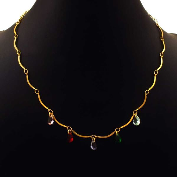 Imagem de Corrente Feminina Gotas de Pedras Coloridas 40cm - 0403977