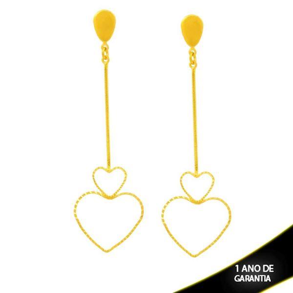 Imagem de Brinco Grande de Corações Diamantados Vazados - 0212656