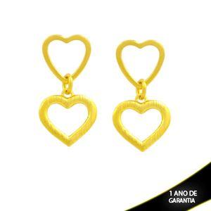 Imagem de Brinco de Dois Corações Vazados Liso e Fosco - 0212679
