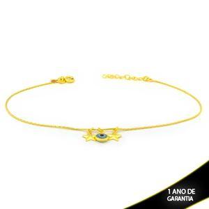 Imagem de Tornozeleira L90 com Estrelas Lisas e Olho Grego 24cm Mais 3,5cm de Extensor - 0600762
