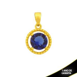 Imagem de Pingente Redondo de Pedra Azul Escuro Trabalhada - 0304763