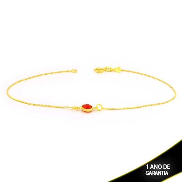 Imagem de Tornozeleira L90 com Pedra Redonda de Zircônia Vermelha 25,5cm - 0600760