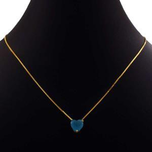 Imagem de Corrente Feminina com Coração de Pedra Azul 45cm Mais 5cm de Extensor - 0403996