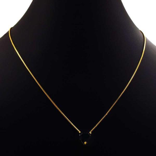 Imagem de Corrente Feminina com Coração de Pedra Preta 45cm Mais 5cm de Extensor - 0403996