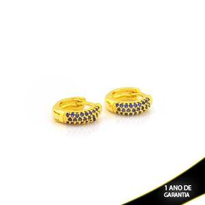 Imagem de Brinco Argola com Zircônias Azuis 3mm 1,1cm - 0212711