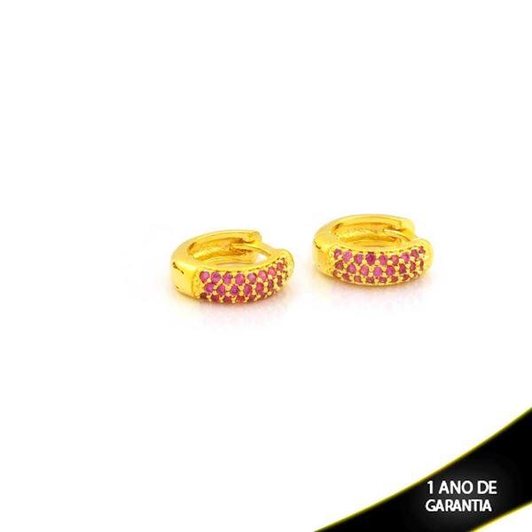 Imagem de Brinco Argola com Zircônias Pink 3mm 1,1cm - 0212711