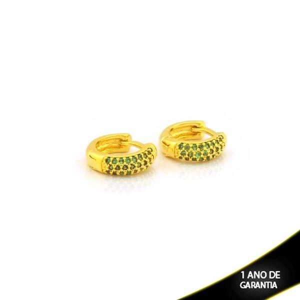 Imagem de Brinco Argola com Zircônias Verde 3mm 1,1cm - 0212711