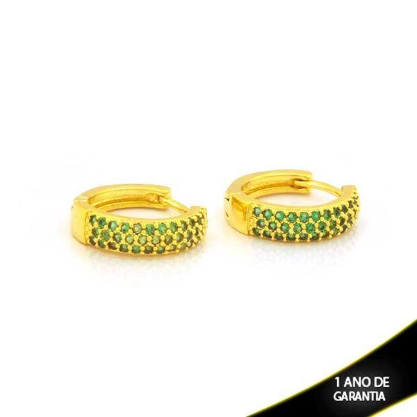 Imagem de Brinco Argola com Zircônias Verdes 4mm 1,4cm - 0212713