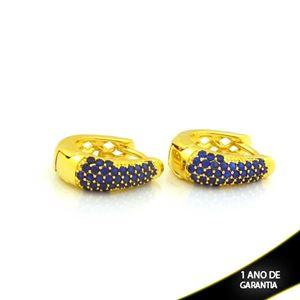 Imagem de Brinco Argola Maior com Zircônias Azuis 6mm 1,7cm - 0212717