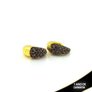 Imagem de Brinco Argola com Zircônias e Ródio Negro 6mm 1,4cm - 0212737