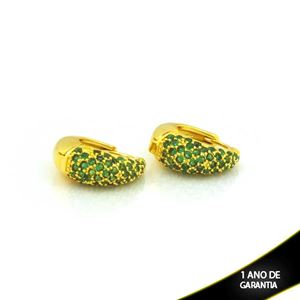Imagem de Brinco Argola com Zircônias Verdes 6mm 1,6cm - 0212706