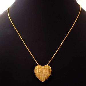 Imagem de Corrente Feminina de Coração Grande com Zircônias 40cm Mais 5cm de Extensor - 0403801