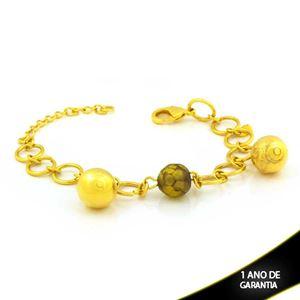 Imagem de Pulseira Feminina com Pedra Redonda e Bolas Diamantadas 17cm Mais 5cm de Extensor - 0504136