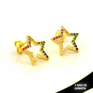Imagem de Brinco de Estrela Vazada com Zircônias Coloridas - 0212768