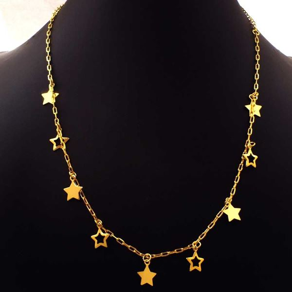 Imagem de Corrente Feminina de Estrelas Lisas e Vazadas 40cm - 0403974