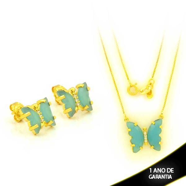 Imagem de Conjunto Borboleta com Pedras Azuis e Zircônias 45cm  - 0701053