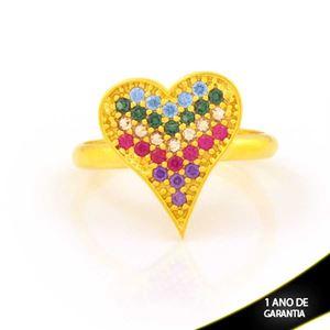 Imagem de Anel de Coração com Zircônias Coloridas - 0105021