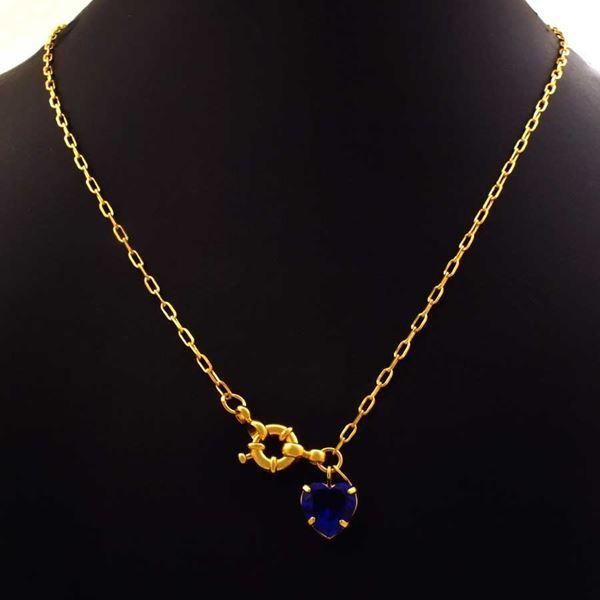 Imagem de Corrente Feminina Cartier com Coração de Pedra Azul Escuro 45cm - 0404028
