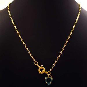 Imagem de Corrente Feminina Cartier com Coração de Pedra Azul Claro 45cm - 0404028