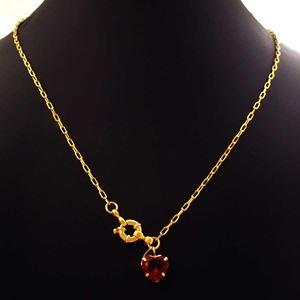 Imagem de Corrente Feminina Cartier com Coração de Pedra Vermelha 45cm - 0404028