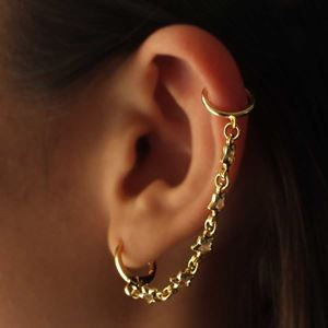 Imagem de Brinco Piercing de Orelha com Estrelas de Zircônia Unidade - 0212791