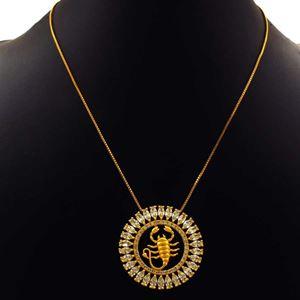 Imagem de Corrente Feminina Mandala Com Zircônias E Símbolo De Escorpião 40cm Mais 5cm De Extensor - 0402793