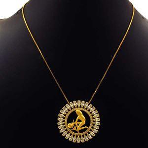 Imagem de Corrente Feminina Mandala Com Zircônias E Símbolo De Virgem 40cm Mais 5cm De Extensor - 0402793
